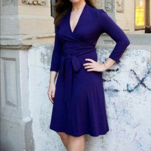 BANANA REPUBLIC L tall Purple Gemma Wrap Dress